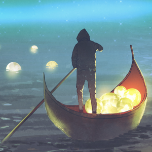 Watercolour Image Of Hooded Figure Standing In Small Boat Collecting Orbs Of Light From A River