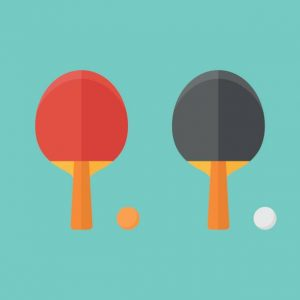Set Of Table Tennis Bats And Balls Isolated On Background.